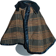 Old Doll Plaid & Silk Doll Cape Sweet Coat Jacket
