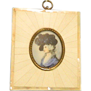Antique Miniature Painting In Bone Frame Portrait Sarah Siddons Doll House