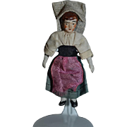 Antique Doll Miniature All Bisque Doll Jointed Original Clothing Dollhouse