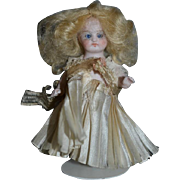 Antique All Bisque Doll Miniature Jointed Glass Eyes Dollhouse