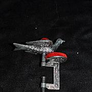 Wonderful Figural Bird Sewing Clamp W/ Pincushion Pin Cushion Ornate Metal Heavy