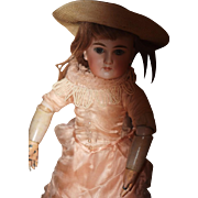 Antique RARE Doll Petit & Dumoutier Body W/ Metal Hands Mystery Bisque French Head Closed Mouth