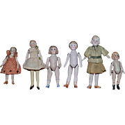 Antique Doll Lot All Bisque Miniature Dollhouse All Different On Yellow Stockings Jointed SIX Dolls