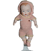 Old All bisque Miniature Doll Jointed Dollhouse Baby Sweet!