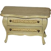Vintage Doll Miniature Painted Chest Fancy Two Drawers Dollhouse Wood