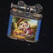 Old Sterling Silver Liftarm Pocket Petrol Lighter Enamel 935 Silver Case Austria