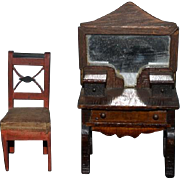Old Doll Miniature Desk Vanity Wood Mirror & Chair Dollhouse