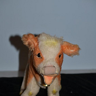 Vintage Doll Toy Steiff Cosy Kalble Button Tag Collar Tag Cow W/ Bell