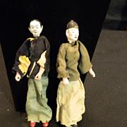 Old Papier Mache Oriental Doll Dolls Original Clothing