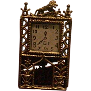 Antique Miniature Filigree Clock Ornate Doll House Metal  Moving Parts