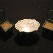 Old Miniature Wood Chairs Doll House Cane Seats Folk Art