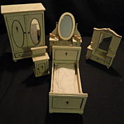 Old Miniature Doll Furniture Wood Folk Art Matching Set Doll House