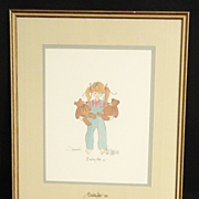 Vintage P. Buckley Moss 1987 Signed on Picture and Glass Susannah Girl With Teddy Bears