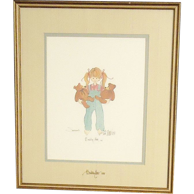 Vintage p buckley moss 1987 signed on picture and glass susannah girl