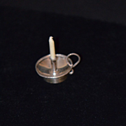 Antique Doll Sterling Miniature Candle Stick Holder W/ Handle Ornate Doll House