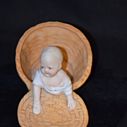 Antique Piano Baby Crawling Out of Basket Doll Miniature Doll House Bisque