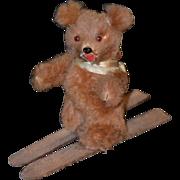 Vintage Miniature Bear On Ski's German Fur Toys For Doll