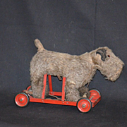 Layaway for Lynne Cyr Antique Mohair Dog For Dolls Pull Toy Walking Motion Mechanical