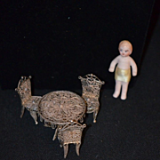 Antique Miniature Sterling Silver Table Chairs & Bisque Doll for Doll House