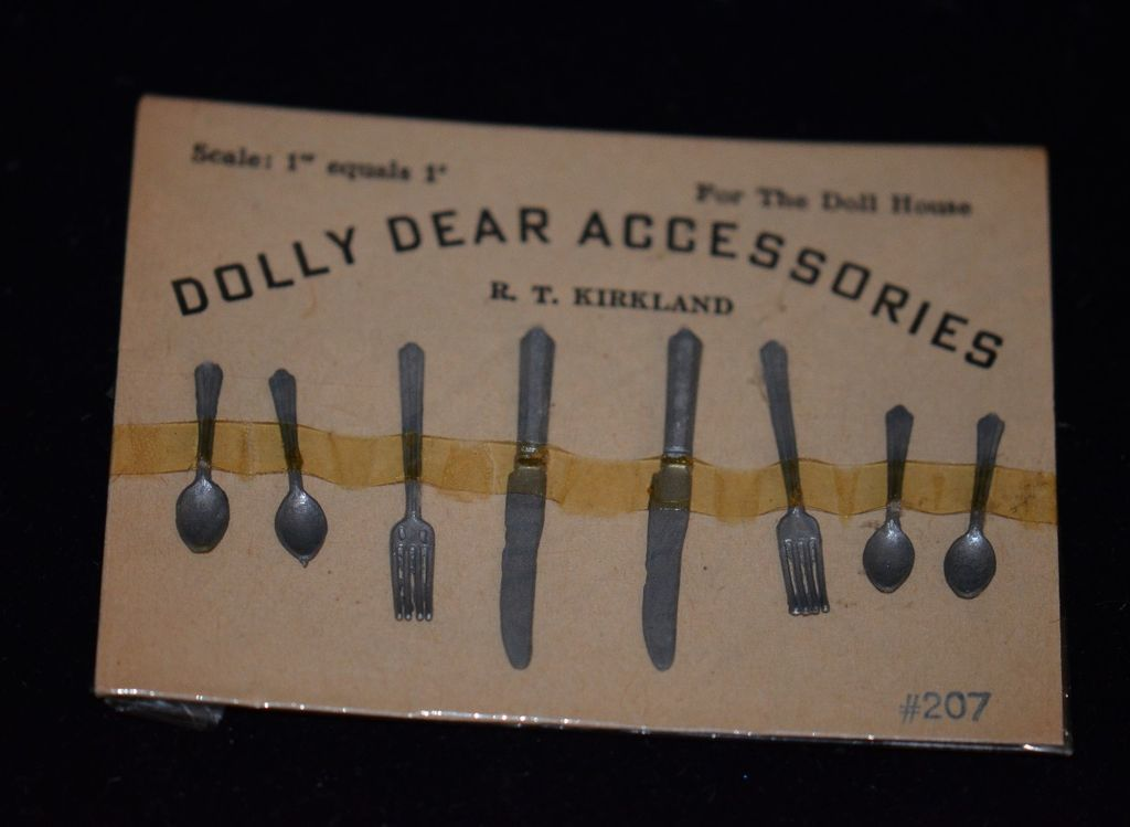 Old Dolly Dear Accessories Doll House Miniatures On Original Package Flatware