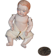Old Miniature Bisque Doll Baby Jointed Doll House