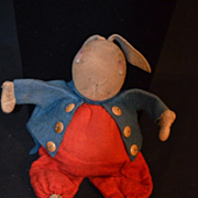 Antique CLoth Felt Rabbit Alice in Wonderland Stuffed Toy Leather