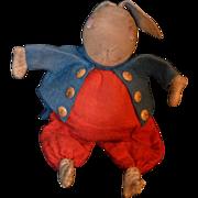 Antique CLoth Felt Rabbit Alice in Wonderland Stuffed Toy Leather