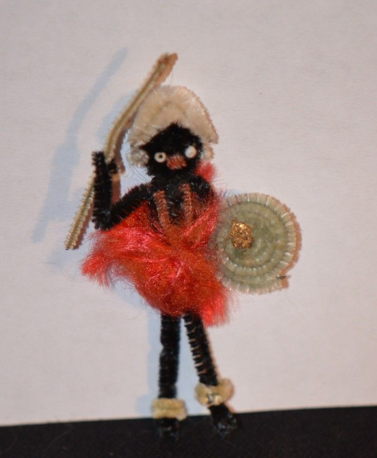 Vintage Pipe Cleaner Black Doll Tribal Miniature Unusual