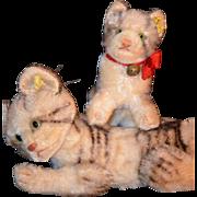 Old Steiff Kitten Tiger Set Mohair Jointed Tabby Adorable Stuffed Animal
