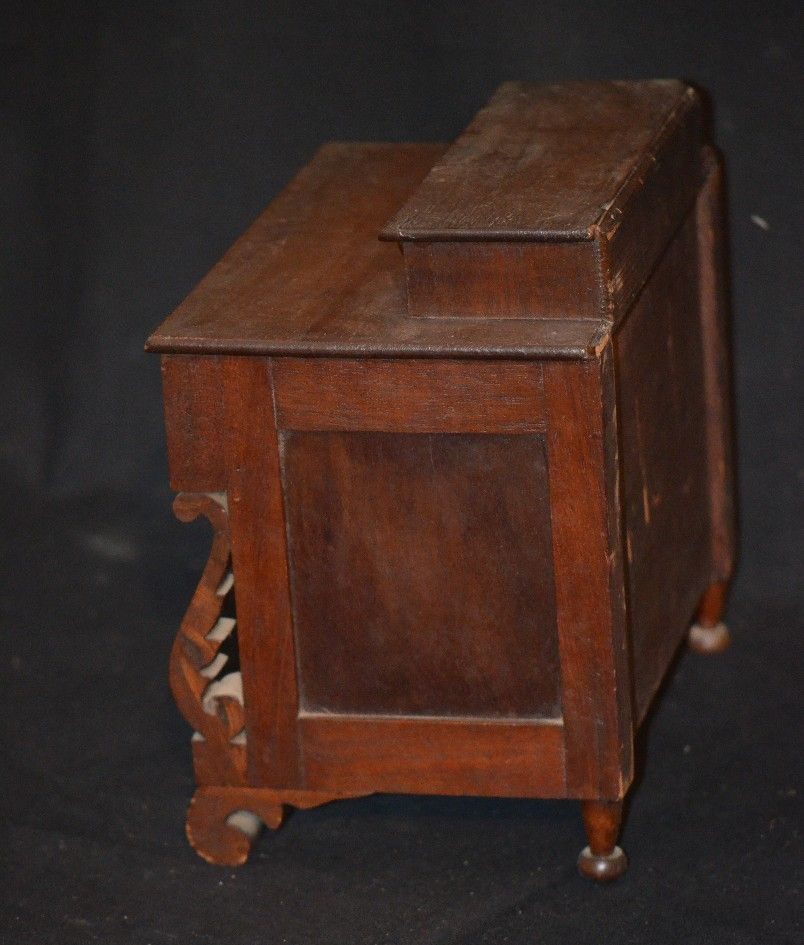 antique empire miniature wood chest for bisque doll sold. Black Bedroom Furniture Sets. Home Design Ideas