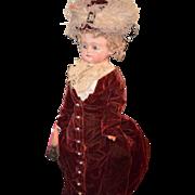 Antique Wax Over Papier Mache Doll Fab Clothes Bulging Glass Eyes