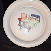 Antique Kewpie Rose O'Neill Doll on Milk Glass W/ Baby Chicks