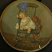 Antique Miniature Doll Child Painting Wonderful