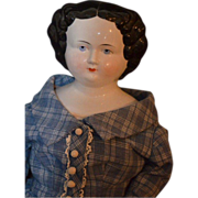 """Antique China Head Doll HUGE Flat Top Dressed 31"""" Tall"""