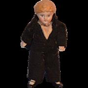 Antique Miniature Bisque Boy Doll Dollhouse Dressed