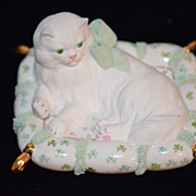 Old Porcelain Dresden White Cat On Pillow Miniature Dollhouse