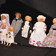 Vintage Miniature Wax Doll Set Dollhouse Dolls Adorable