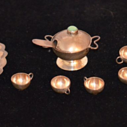 Vintage Miniature Dollhouse Doll Tea Set Silver & Stone Punch Bowl Set Tray