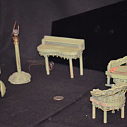 Old Miniature Wicker & Wood Dollhouse Furniture Doll Lamp Chairs Desk & MOre