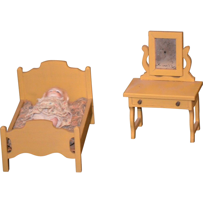 Old miniature doll dollhouse wood furniture bedroom set oldeclectics ruby lane Dollhouse wooden furniture