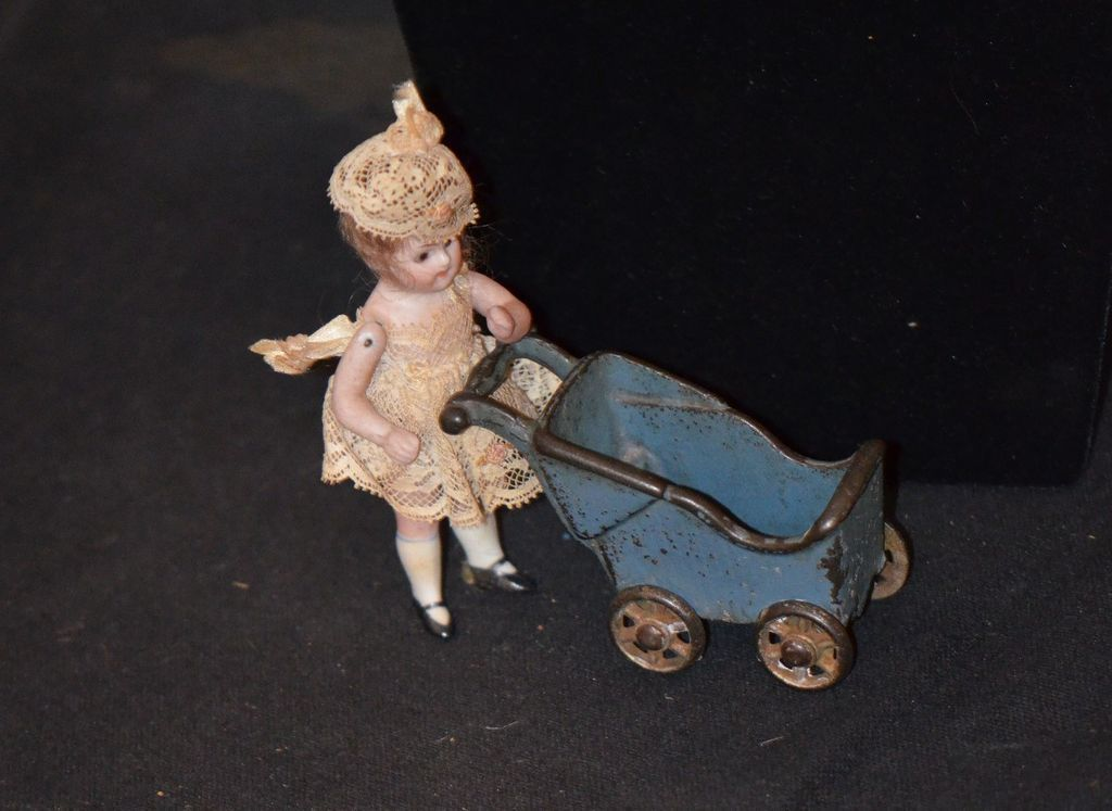ANtique Miniature Doll Bisque Dollhouse Glass Eyes Dressed