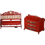 Old Miniature Painted Furniture Dollhouse Ornate Unusual Bench Chest