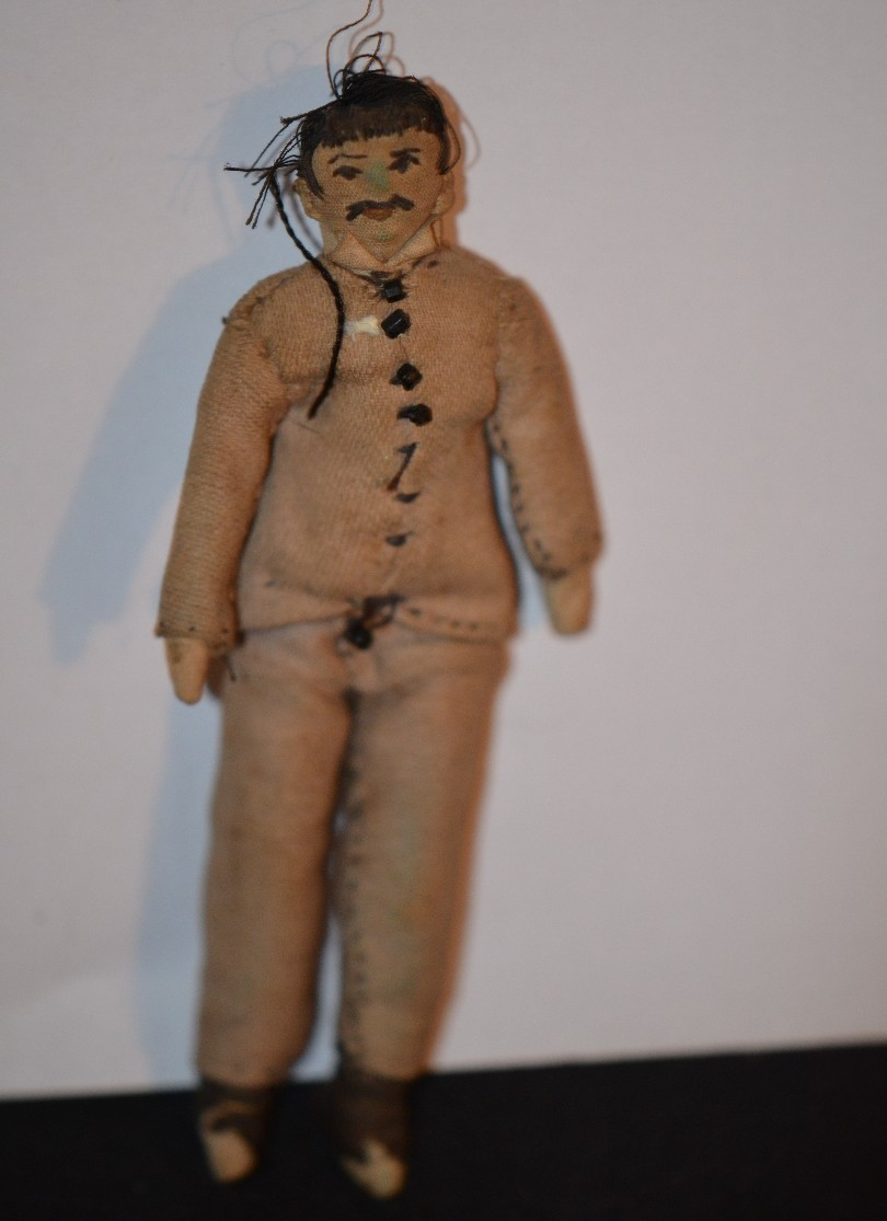 Old Doll Cloth Miniature Dollhouse Unusual Man Doll Folk Art