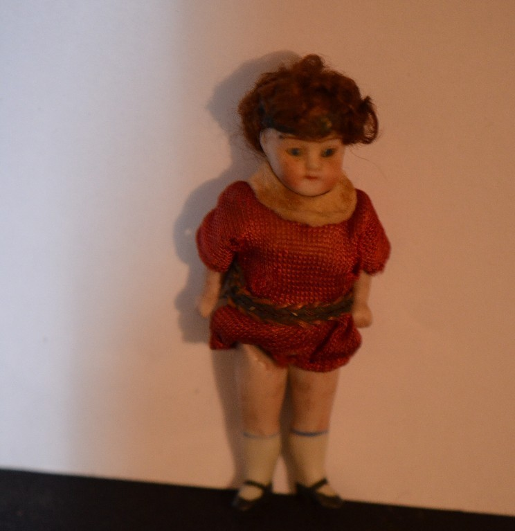 Antique Miniature Doll Bisque Dollhouse Glass Eyes