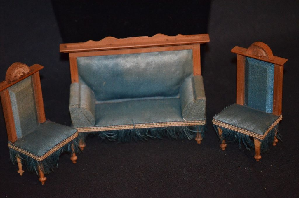 Antique Doll Furniture Miniature Dollhouse Sofa Charis Settee Fancy Fringe