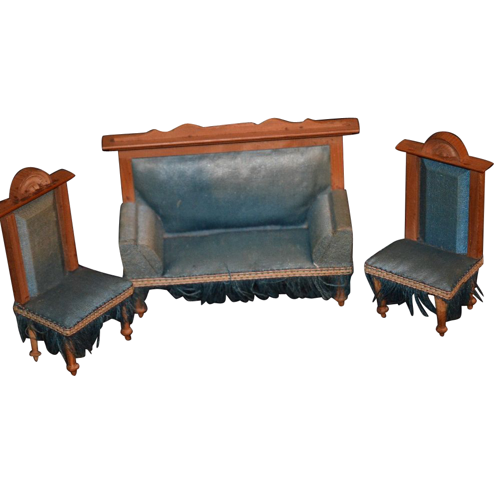Antique Doll Furniture Miniature Dollhouse Sofa Charis Settee Fancy Sold On Ruby Lane