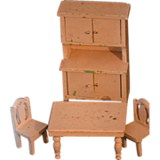 Old Miniature Doll Furniture Painted Wood  Cottage Table Chairs Cupboard Toilet Miniature Dollhouse