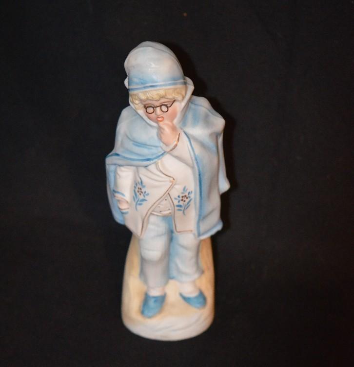 Antique Bisque Piano Baby Figurine Doll Unusual Boy W/ Glasses