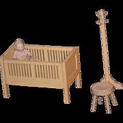 Antique Doll Bisque Miniature in Crib Nursery Dollhouse W/ Doll