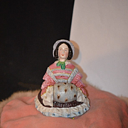 Antique Doll Half Doll China Head Unusual Staffordshire